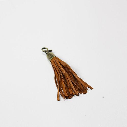Leather Tassel Key Ring Tan