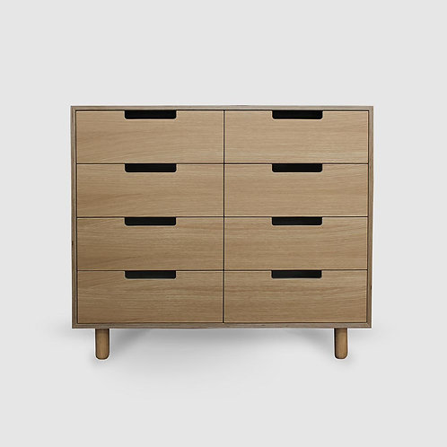 SHOWROOM STOCK Doug Boxed Oak Plywood 8 Drawer Lowboy