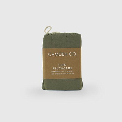 Linen Pillow Cases - Set of 2 - Green Moss