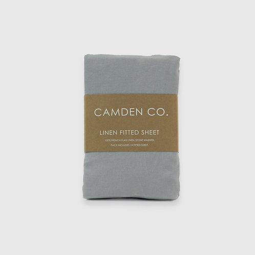 Linen Fitted Sheet - Dove Grey