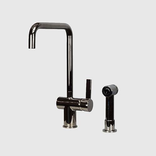 Waterware - Urban Gooseneck Bench Extractable Black Chrome Kitchen Mixer