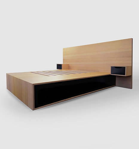 Oak Plywood Bed Box with Headboard