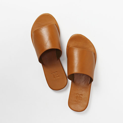 Blanca Tan Leather Slide