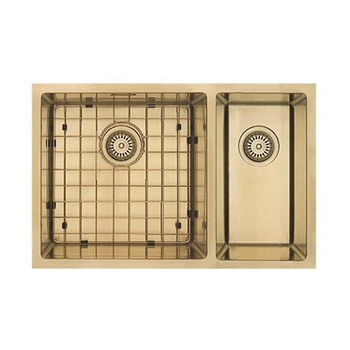 Mercer Aurora Series Coloured Stainless Double Sink - Brass 200+400 RIGHT