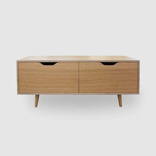 Retro Oak Plywood TV Unit - 2 Drawers