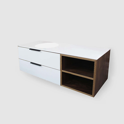 Simple Plywood 2 Drawer Vanity with Corian Top and Seemless Bowl
