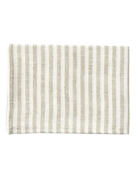 Kitchen Linen Tea Towel White Natural Stripe