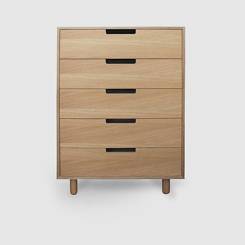 Doug Boxed Oak Plywood 5 Drawer Tallboy