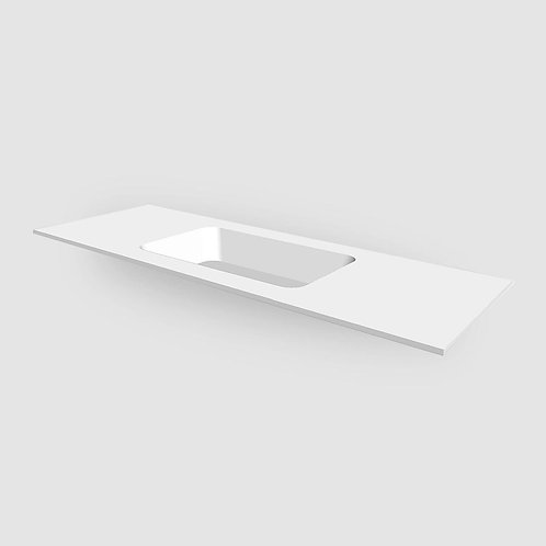 Corian Solid Surface Matt White 12mm Custom Vanity Top with Rectangular Bowl