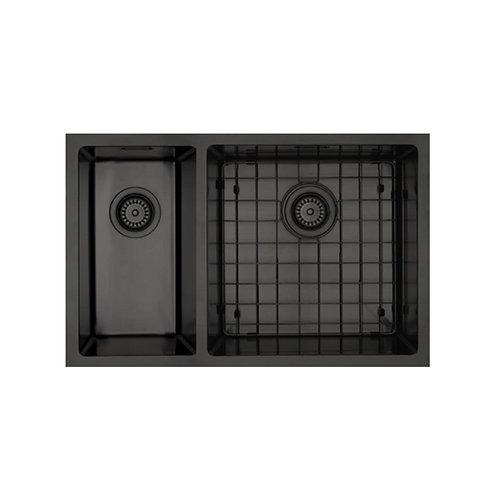 Mercer Aurora Series Coloured Stainless Double Sink - Black 200+400 LEFT