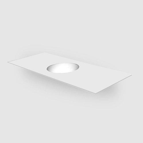 Corian Solid Surface Matt White 12mm Custom Vanity Top with Round Bowl