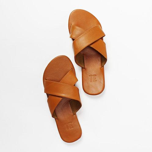 Cross Tan Leather Slide