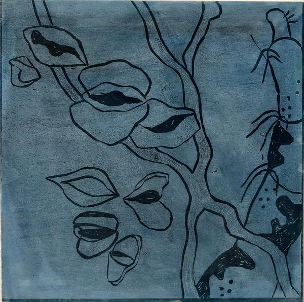 'Dancing Flirt', Lino Print