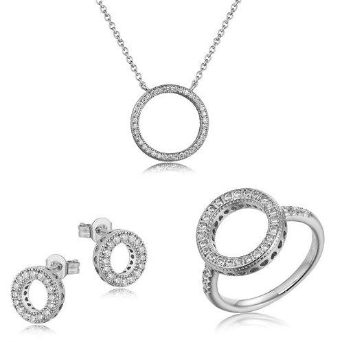 סט חישוק לבבות מכסף משובץ דגם H5 – שרשרת | טבעת | עגילים
