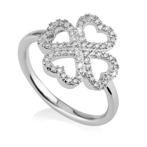 טבעת תילתן מכסף משובץ