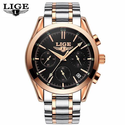 Men's LIGE Top Brand Luxury Quartz Waterproof Watch