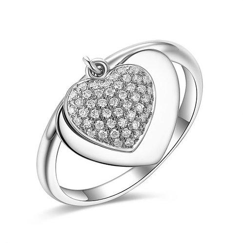 טבעת לב מכסף בחריטה אישית – דגם H8