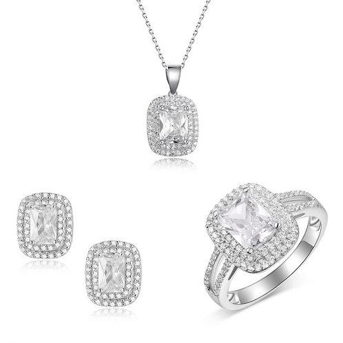 סט אמילי מכסף משובץ – שרשרת | טבעת | זוג עגילים