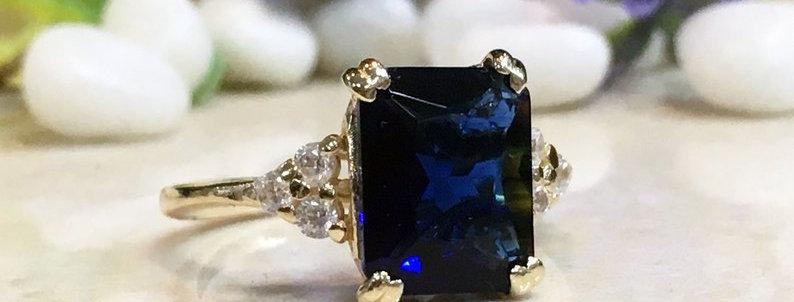 Blue Sapphire Ring - September Birthstone - Statement Ring - Gold Ring - Engagem