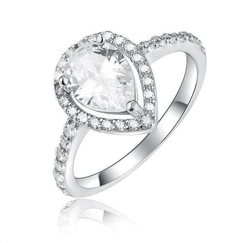 טבעת טיפה II מכסף משובץ