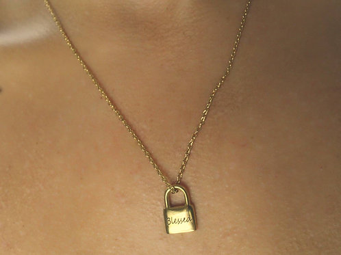 Spiced X Honey Lock Pendant Chain Necklace