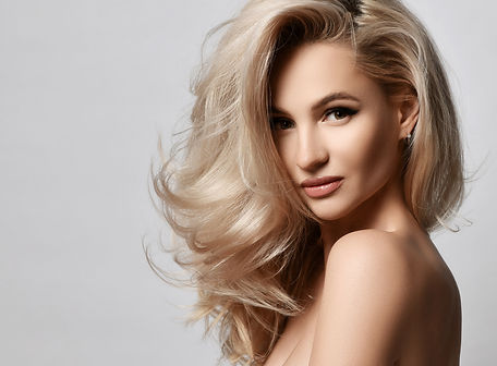 Healthy skin beautiful woman beauty skin and hair portrait natural make up. Blonde woman f