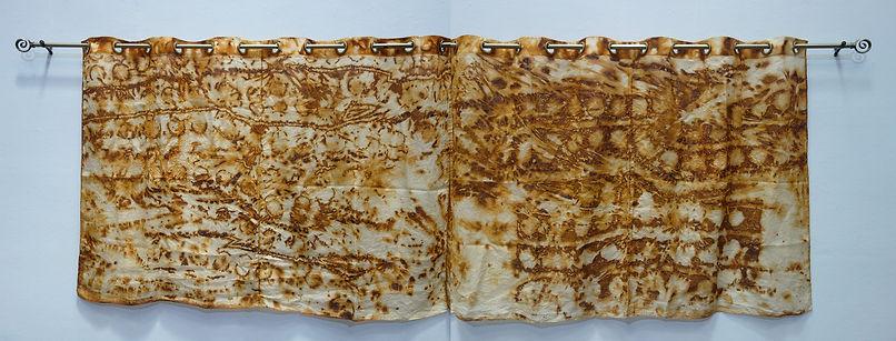 Rust dyed Jusi fabric art