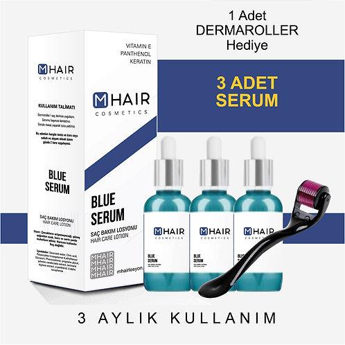 M-Hair Mavi Saç Bakım Losyonu 3'lü  + DermaRolller Hediyeli