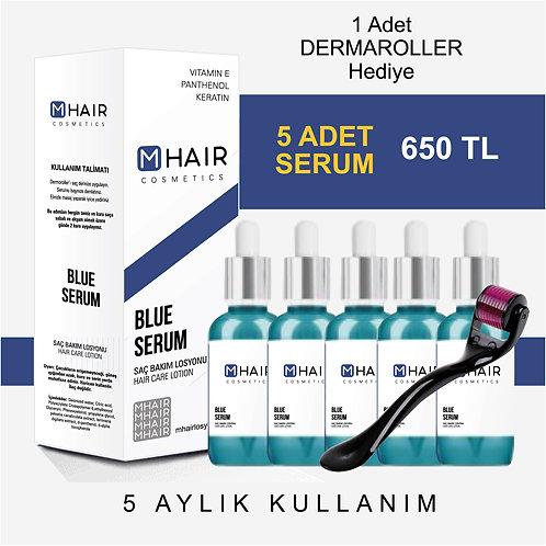 M-Hair Mavi Saç Bakım Losyonu 5'li +DermaRolller Hediyeli
