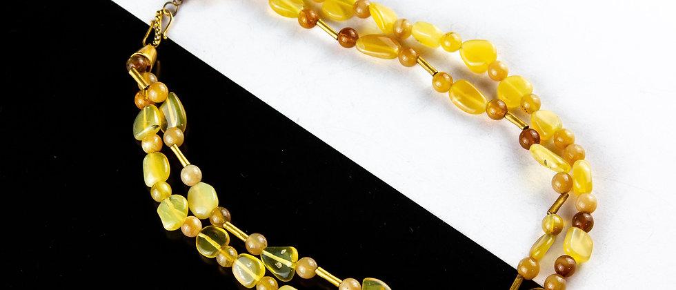 Collar citrina y agata cuenta dorada
