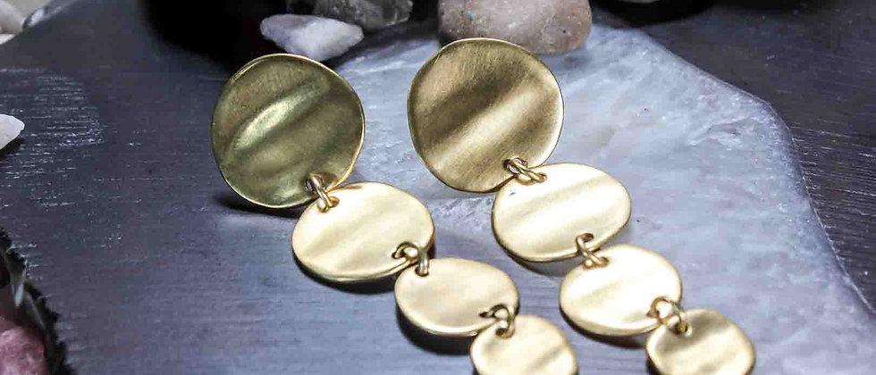 Aretes Colgantes Dorados Monedas