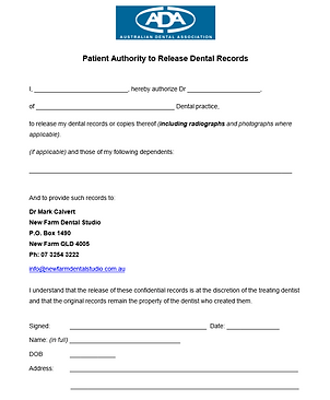 ADA Patient Authority To Release Dental Records Online Form.