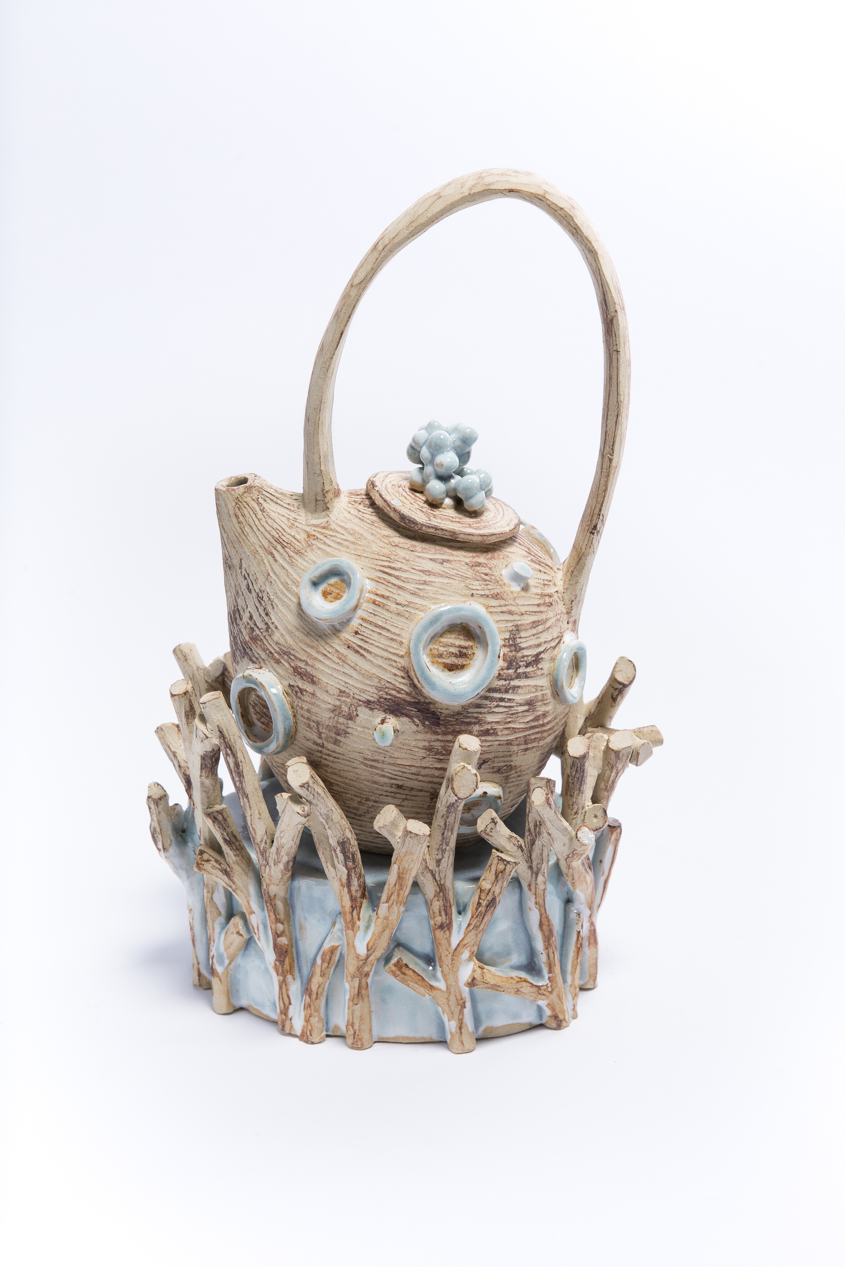 Bev Seth 2 teapot in nest of branches