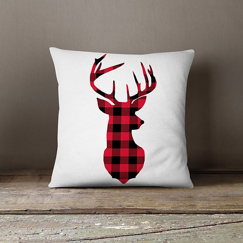 Hand-Designed Plaid Deer Pillow Cover