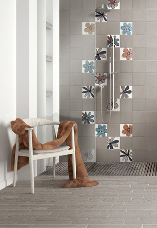 Walk-in shower installed on Brick tiles and Retro Flowered Feature Wall