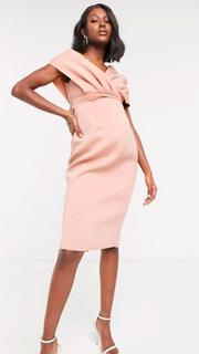 Kleed roze blote schouder - maat 38