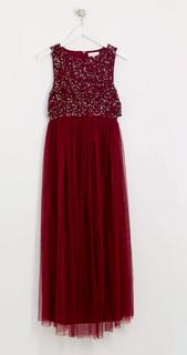 Bordeaux kleed met pailetten - maat 38