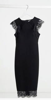 Aanpassende zwarte jurk met kant - kleine maat 42