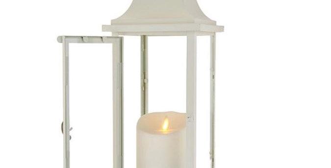 Farolillo 40cm Blanco Vintage + vela Exterior 9cm x 13cm