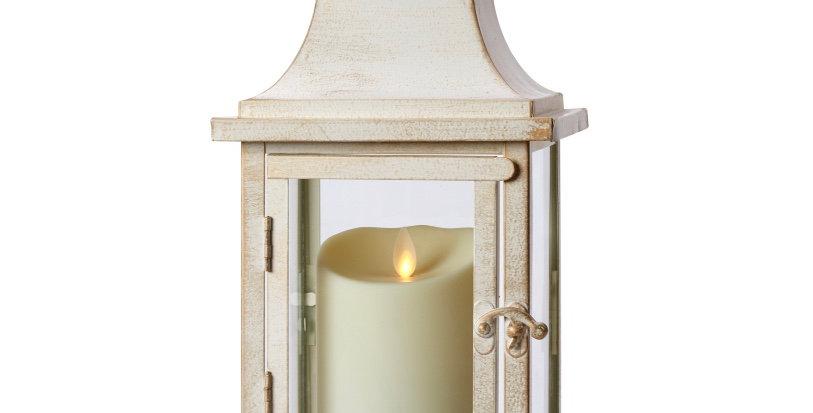 Farolillo 30cm Blanco Vintage + vela Exterior 8.5cm x 13cm