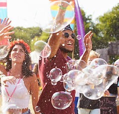 Friends Dancing in Bubbles