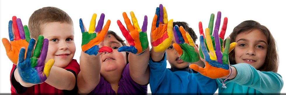 children with colorful hands