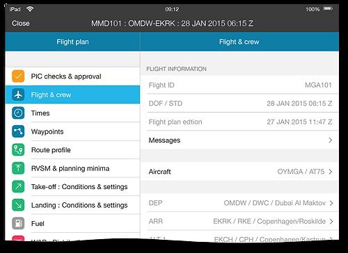 TAILLOG: Flight plan details