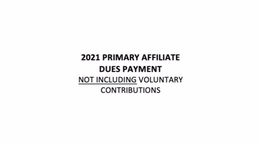 2021 Primary Affiliate Dues Not Including RPAC & Community Service Contribution