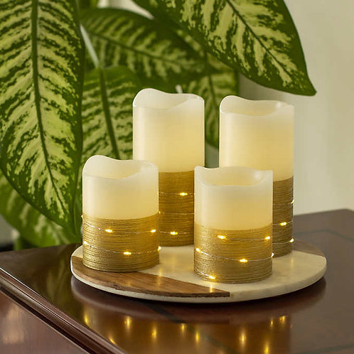 Sterno Home Flameless LED Wax Pillar Candles with Fairy Lights and Timer, 4-piec