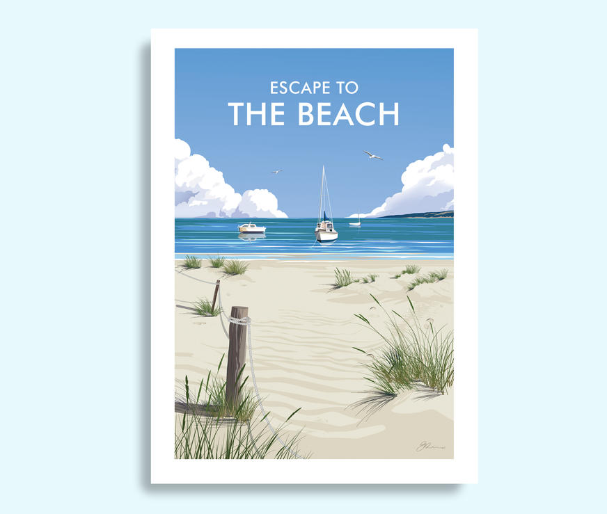 Escape to the Beach travel print