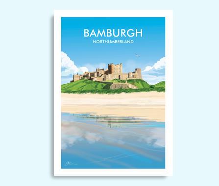 Bamburgh Northumberland travel print