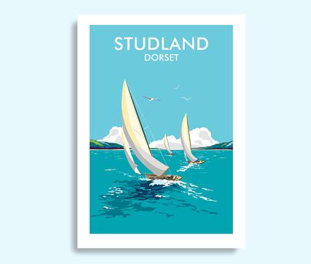 Studland Dorset travel print