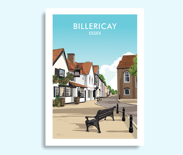 Billericay Essex travel print