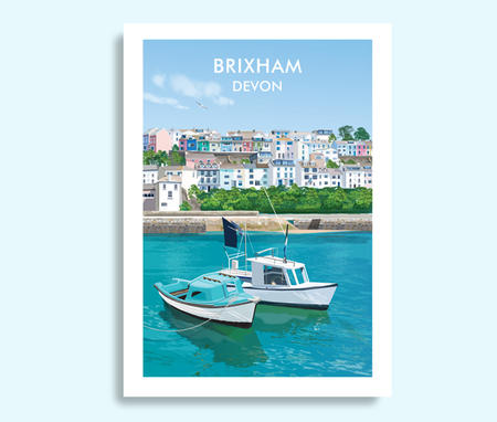 Brixham Devon travel print